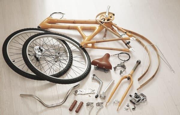 ハンドル、フォーク、タイヤ、クランク、チェーン、ブレーキなどの部品は、  別途用意する必要がある