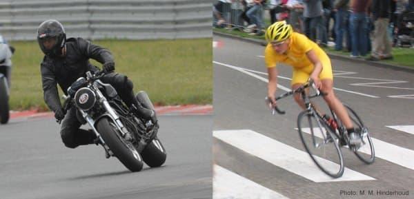 自転車やバイクでは、カーブを曲がるとき、車体を傾ける