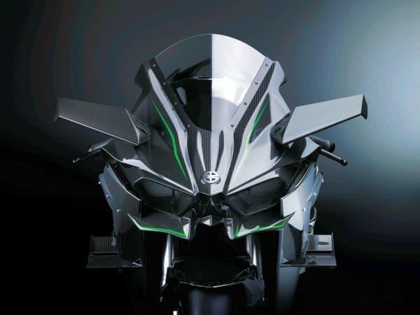 300 ps のサーキット専用車「Ninja H2R」  アッパー/ローウイングがダウンフォースを発生  超高速域での安定性を高める