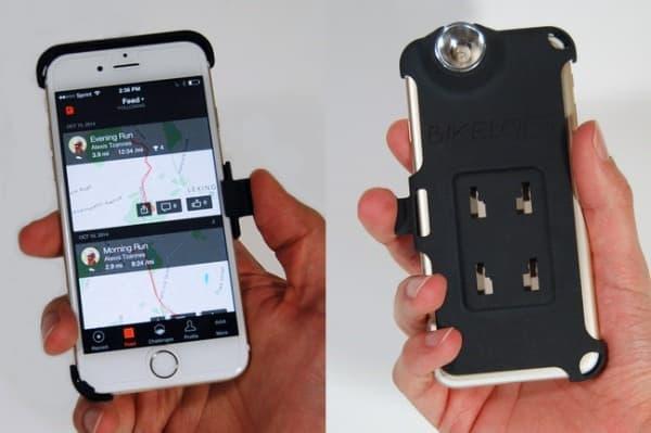 iPhone のライトの光束を反射鏡によって集中させ  必要な照度を得る
