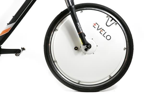 所有する自転車の前輪を付け替えるだけで、  自転車が電動アシスト自転車になります