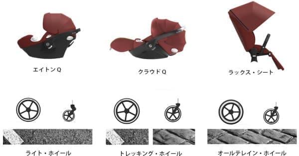 3種類のシート(上)と3種類の足回り(下)から選択可能