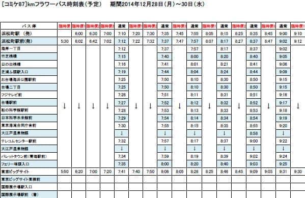 浜松町駅前発の増発便を含む臨時ダイヤ(データ出典:国際自動車)