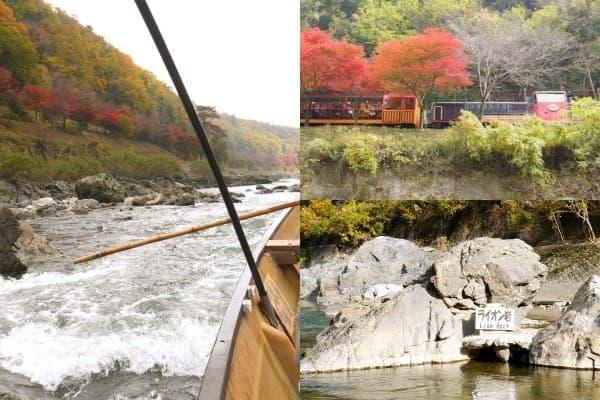 赤黄緑が混ざり合った山を眺めながら、のんびりと船は進みます
