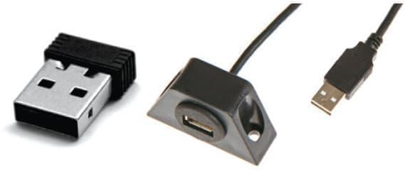 USB Wi-Fi ドングル や USB ケーブルを備える
