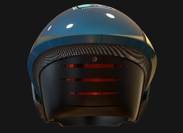減速すると、後頭部のブレーキランプ(赤色)が点灯