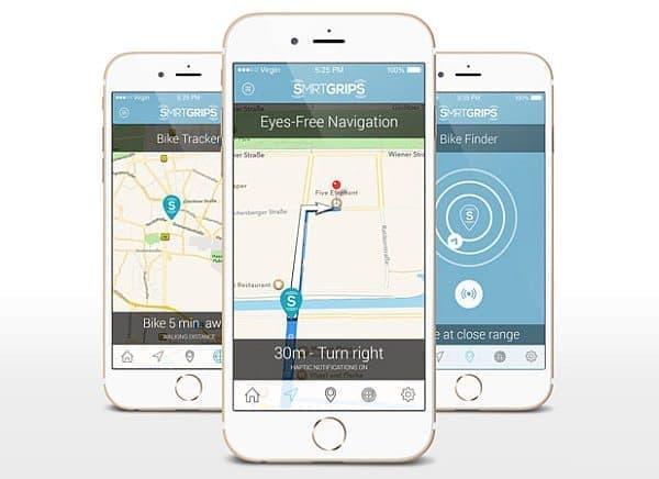 「smrtGRiPS」専用アプリ  ナビの他、「Bike Finder(自転車探知機)」と「Bike Tracker(自転車追跡)」機能を搭載