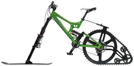 MTB をキャタピラ付きの雪上バイクに変える「KtracK 雪上自転車キット」
