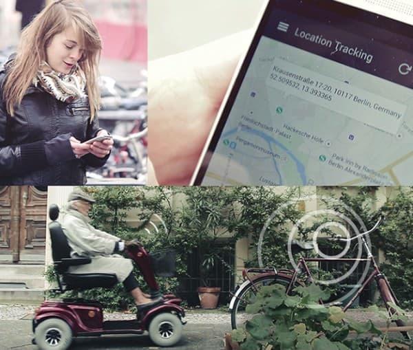 「Bike Tracker(自転車追跡)」機能  画像は「smrtGRiPS」を搭載した車椅子が盗難車の側を通過  持ち主に所在地が通知された例