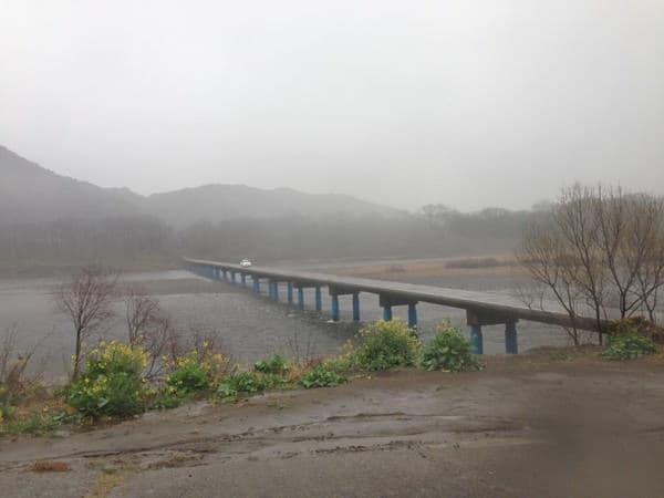 橋の上にあらわれた実習車