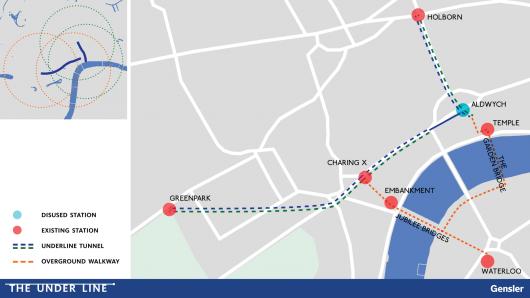 「ロンドン・アンダーライン」で提案されている地下自転車道路設置区間