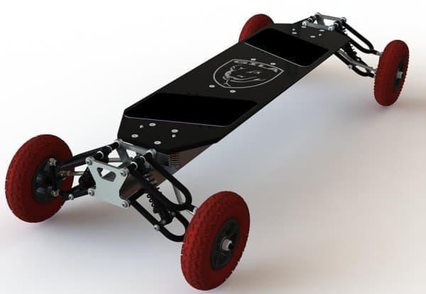 4輪独立サスペンションを搭載したスケートボード「Gila-Board G1」