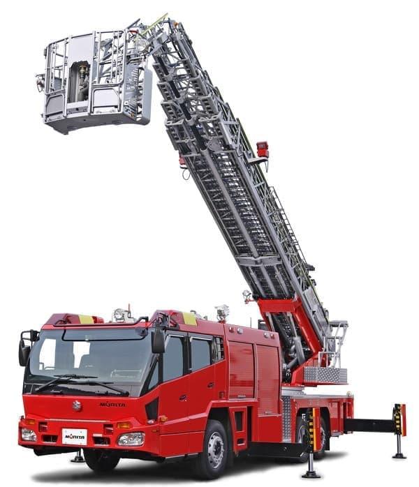 火災現場などで活躍するはしご車だ