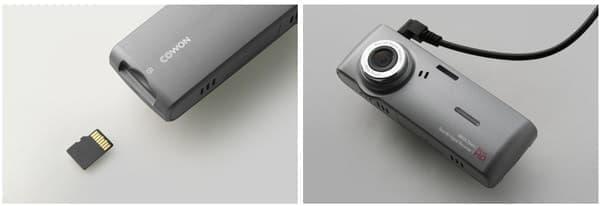 記録媒体は microSDHC メモリーカード、外部 GPS との接続も可能。