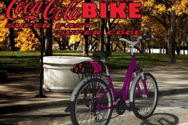 「Coca-cola powered Bike」コンセプト画像  荷台にコーラ瓶をくくりつけただけのシンプルな構造  「超速く、超クール」という宣伝文句が、少し哀しい…。