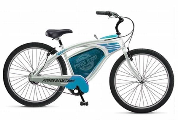 「Power Boost」メカニズムで走行する「POWER BOOST BIKES」   「スロットルをタッチするだけで、どこまででも行ける自転車」だそうだ