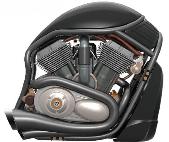ハーレーダビッドソンの V 型2気筒エンジンを模したデザイン