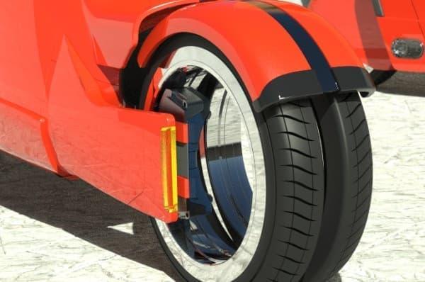 前タイヤを2つに分割する機能を搭載  クルマモードとバイクモードの両立を実現した