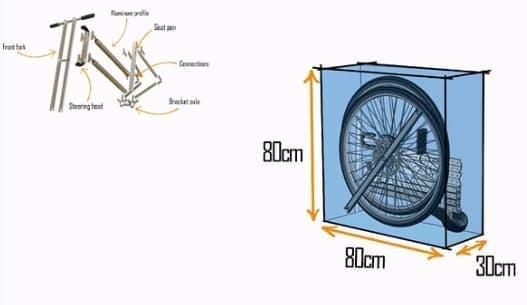 「REFRAMED Bicycle」は、縦80x横80x奥行き30センチの箱に入れて販売される