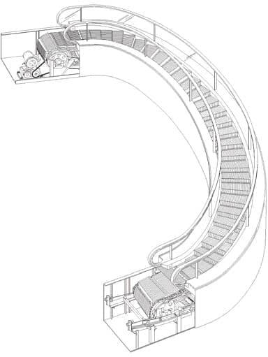 スパイラルエスカレーターの構造(画像提供:三菱電機)
