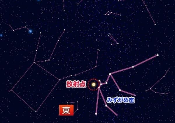 「みずがめ座イータ流星群」放射点  (画像はウェザーニューズの Webサイトより)