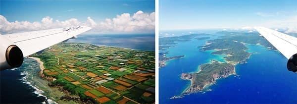 サンゴ石灰岩が風化した赤土の沖永良部島(左)、奄美大島南端の大島海峡