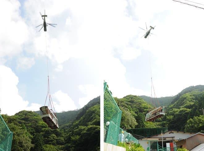 新型ケーブルカーが空を飛んでやって来た