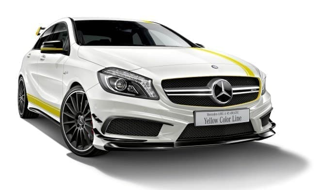 「A クラス」の特別仕様車「Mercedes-AMG A 45 4MATIC Yellow Color Line」  (画像はカルサイトホワイト)