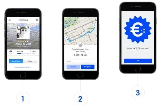 1. アプリで配送指示を受け、2. アプリの道案内で配送し、3. アプリから配送料を受け取り