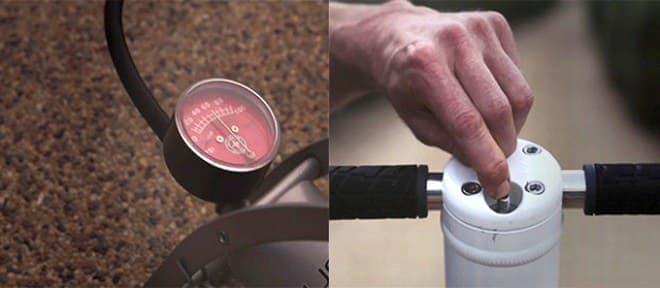 エアスプリングはエアポンプで空気圧を変更可能