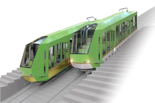 10月から運行する新型車両もヘリで空を飛んで到着する予定(写真提供:大山観光電鉄)