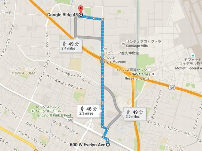 最寄駅からGoogle本社までのルート  途中、シリコンバレーの大動脈と呼ばれるハイウェイ101をまたぐ