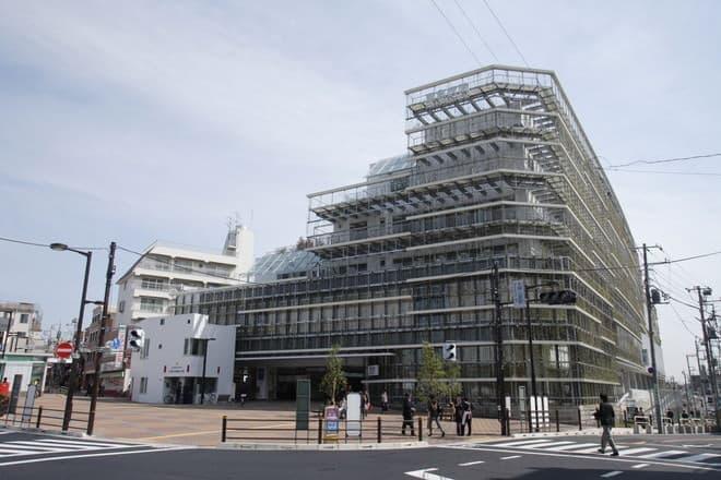 病院とひとつになった大岡山駅