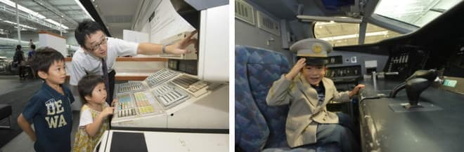 切符の発券(左)や、新幹線の運転台の特別公開(右)もあるよ