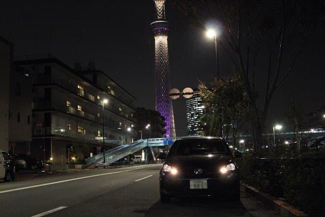 東京スカイツリーのおひざ元をドライブ