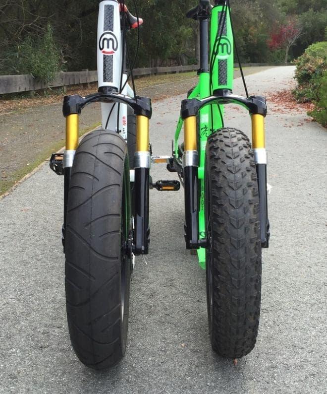 タイヤはファットバイク用のもの  2種類のトレッドパターンを用意