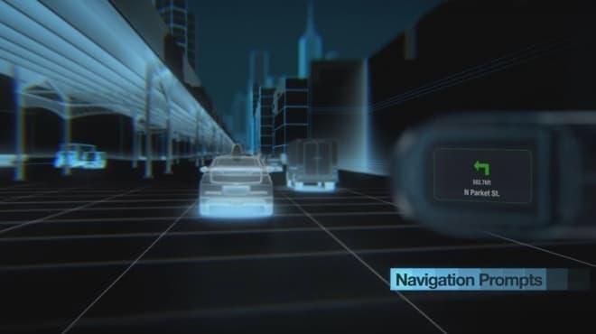 ナビシステムの利用イメージ  次に曲がる道路名と、方向を示している