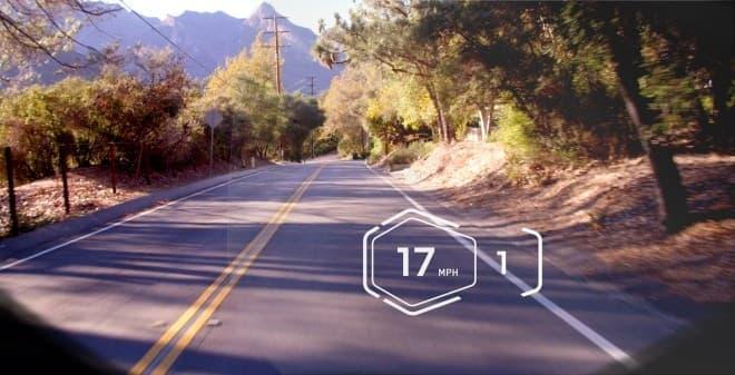 基本的な表示の例  時速約27キロで走行しており、ギアが1速に入っていることを示す