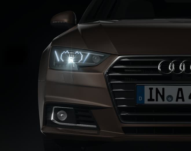 Audi A4向けの新オプション「Audiマトリクス顔文字LEDヘッドライト」