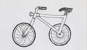 正しくない自転車のスケッチの例