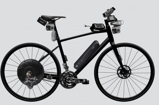様々なデバイスを搭載した現在の自転車イメージ図