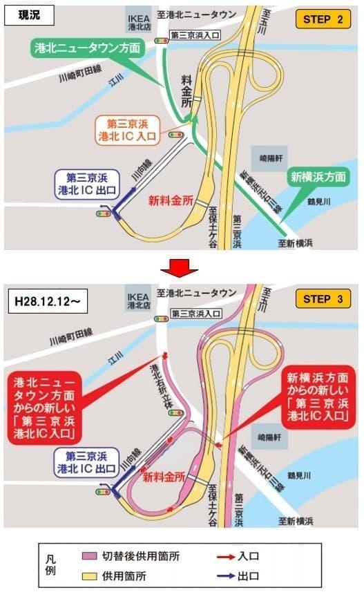 第三京浜道路 港北IC入口位置変更