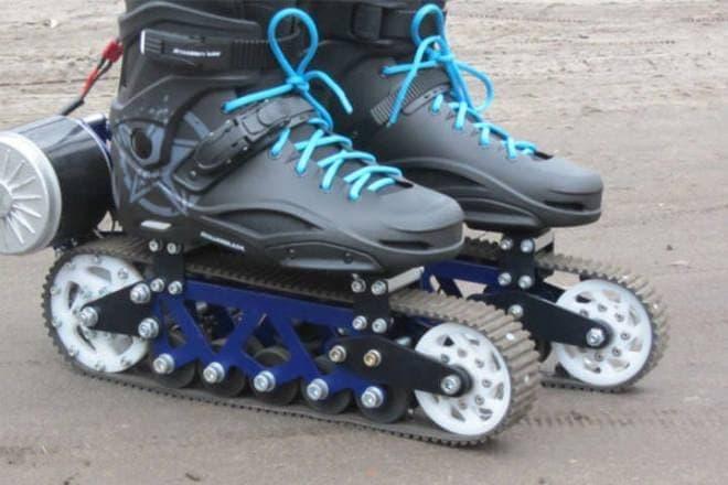 世界最小の戦車?-無限軌道付き電動ローラーブレードAero-Service「Electric Rollerblades」