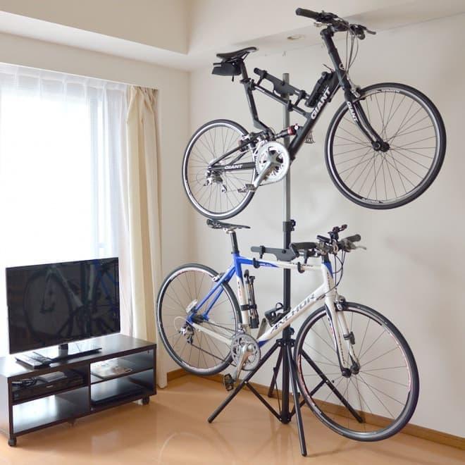 1本で2台の自転車を室内保管―「自転車2台縦置きポールスタンド」