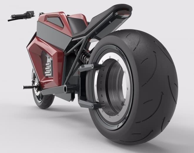 リアにハブレスホイールを採用した電動バイク、RMK Vehiclesの「E2」