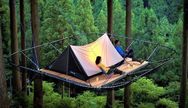 冒険の森「Tree Picnic Adventure IKEDA」で、「樹上のテントサイト」サービス開始