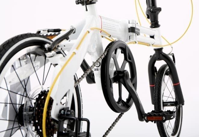 ブルホーンハンドルの折り畳み自転車「104-R-WH Light Velocity」、DOPPELGANGERから