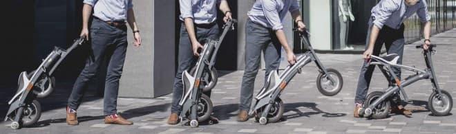 電動バイクを、室内駐輪 ― 折り畳み電動バイク「Stigo」