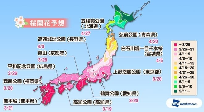 2019年の桜開花は、3月18日の東京からスタート ― ウェザーニューズが「第一回桜開花予想」を発表