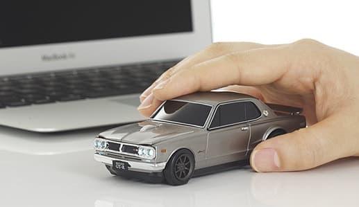 Nissan Skyline GT-R SILVER 無線式 クラシックプレミアムマウス